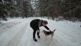 Le briquet de chien fonctionne par la neige Jeunes couples mignons de hippie ayant l'amusement dans le parc d'hiver avec leur chi banque de vidéos