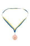 le bronze a isolé des médailles blanches Image stock