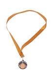 le bronze a isolé des médailles blanches images stock