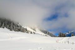 Le brouillard dans les montagnes images libres de droits