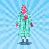 Le bruit Art Beautiful Woman en hiver chaud vêtx extérieur Temps froid illustration libre de droits