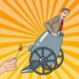 Le bruit Art Cannon Business Man Gets a mis le feu Photo stock