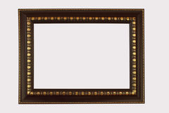 Le brun en bois de cadre a équilibré l'antiquité d'or d'isolement sur le backgr blanc Photographie stock