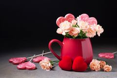 Le brunch de la fleur fleurit dans une tasse rouge Image libre de droits