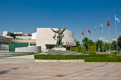 Le bâtiment moderne de salle de concert Xinghai et la musique ajustent dans la ville de Guangzhou, paysage urbain de la Chine Asi Photo stock