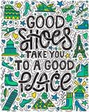 Le buone scarpe vi prendono ad un buon posto illustrazione vettoriale