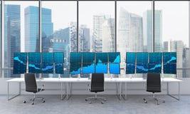 Le bureau avec 24 a alimenté des moniteurs, traitant des données, le commerce, s Photo stock