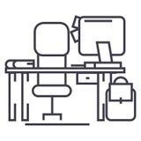 Le bureau avec l'ordinateur et la chaise dirigent la ligne icône, le signe, illustration sur le fond, courses editable Photographie stock