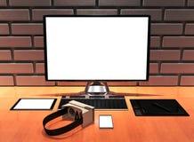 le bureau du concepteur professionnel créatif de l'illustration 3D avec le carton VR Photographie stock libre de droits