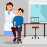 Le bureau du docteur s dans la femme de sourire de clinique traite l'oeil du jeune homme employant des oeil-baisses Personnage de Image stock