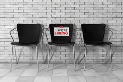 Le bureau moderne de Simpne préside un avec le signe de location de We're 3d ren Photographie stock libre de droits