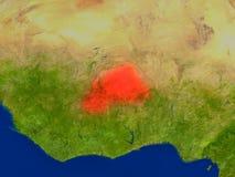 Le Burkina Faso de l'espace en rouge Images stock