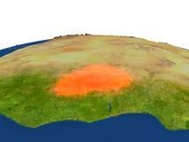 Le Burkina Faso en rouge d'orbite Images libres de droits