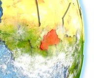 Le Burkina Faso en rouge sur terre Photo stock