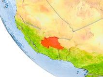 Le Burkina Faso sur le globe Photographie stock