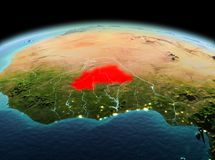 Le Burkina Faso sur terre de planète dans l'espace Photo libre de droits