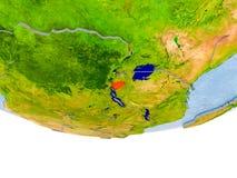 Le Burundi en rouge sur le modèle de la terre Images stock