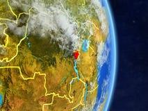 Le Burundi sur terre de planète de planète avec des frontières de pays Surface et nuages extrêmement détaillés de planète illustr illustration libre de droits