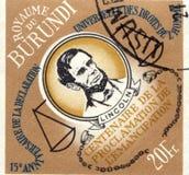 LE BURUNDI - VERS 1989 : timbre imprimé par le Burundi, expositions Abraham Lincoln, vers 1989 Photographie stock