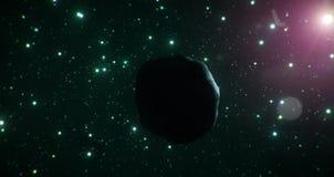 Le côté en noir d'un asteroïde de glace voyage par l'étendue froide de l'espace sur un contexte des étoiles vertes illustration libre de droits
