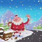 Le côté de route de voyage en stop de Santa Claus de bande dessinée cassé luge l'accident Co Photos libres de droits