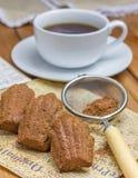 Le cacao a saupoudré des madeleines de choco avec une tasse de café image libre de droits