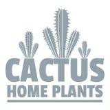 Le cactus à la maison plante le logo, style gris simple Photographie stock