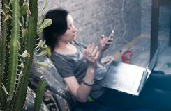 Le cactus dans le premier plan, une jeune fille de brune dans le T-shirt et jeans, foyer sélectif, photos libres de droits