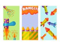 Le cadeau de carte de fête d'anniversaire d'aileron de brochure de fusée de pyrotechnie de feux d'artifice célèbrent des outils d illustration de vecteur