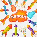 Le cadeau de fête d'anniversaire de fusée et d'aileron de pyrotechnie de feux d'artifice célèbrent des outils de festival d'illus illustration stock