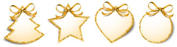 Le cadeau de Noël étiquette le vecteur d'isolement par blanc d'or de scintillement de labels illustration stock