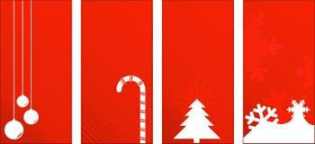 Le cadeau rouge de Noël étiquette ou des étiquettes Images stock