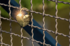 Le cadenas en forme de coeur d'amour a attaché au grillage sur un pont T Photo stock