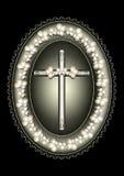 Le cadre argenté ovale avec la croix a encadré la frontière de dentelle Photo libre de droits