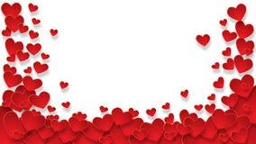 Le cadre avec les coeurs rouges sur le fond transparent Photos libres de droits