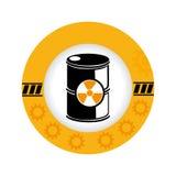 Le cadre circulaire avec la silhouette barrels avec les matériaux radioactifs Photo stock
