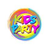 Le cadre coloré de cercle avec des enfants font la fête l'insigne pour le playgro d'enfants illustration de vecteur