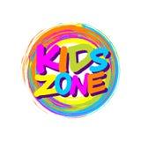 Le cadre coloré de cercle avec des enfants répartissent en zones l'insigne pour le playgrou d'enfants illustration stock