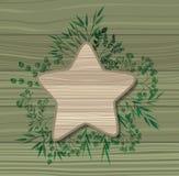 Le cadre d'étoile avec le laurier pousse des feuilles fond en bois illustration stock