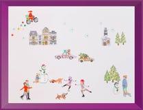Le cadre d'autocollants de scène d'hiver badine le cadeau Images stock