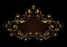 Le cadre d'or avec l'ofde modèlese courbe, avec le crownet la croix Images stock