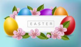 Le cadre de bannière de Pâques avec des oeufs et la cerise fleurissent Photos stock