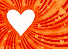 Le cadre de coeur sur le soleil rayonne des milieux avec le chemin de coupure Image libre de droits