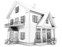 Le cadre de fil rendent de la maison sur le fond blanc Photo libre de droits