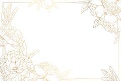Le cadre de frontière de pivoine de Rose a décoré des coins d'or Photo libre de droits