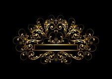 Le cadre de luxe d'or avec des perles, des boucles et or croisent Photo libre de droits