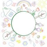 Le cadre des dessins colorés du ` s d'enfants avec l'endroit pour votre texte à l'intérieur du cercle Illustration de vecteur illustration stock