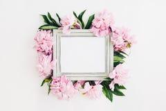 Le cadre en bois en pastel décoré des pivoines fleurit, l'espace pour le texte Voir les mes autres travaux dans le portfolio photos libres de droits