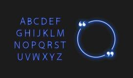 Le cadre et la police rougeoyants au n?on de citation de cercle de vecteur, les ?l?ments l?gers bleus lumineux ont isol? illustration stock