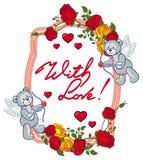 Le cadre ovale avec les roses rouges, ours de nounours, ressemble à un cupidon Photo stock
